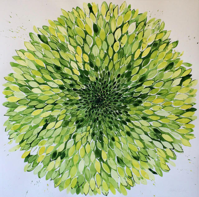 Idoline Duke  Big Green Flower II  watercolor on paper 36 x 36 in.