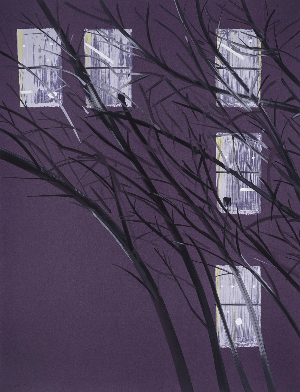 Alex Katz  Purple Wind , 2017 22-color silkscreen on Saunders 425 gsm paper 72 x 55 in. edition of 64