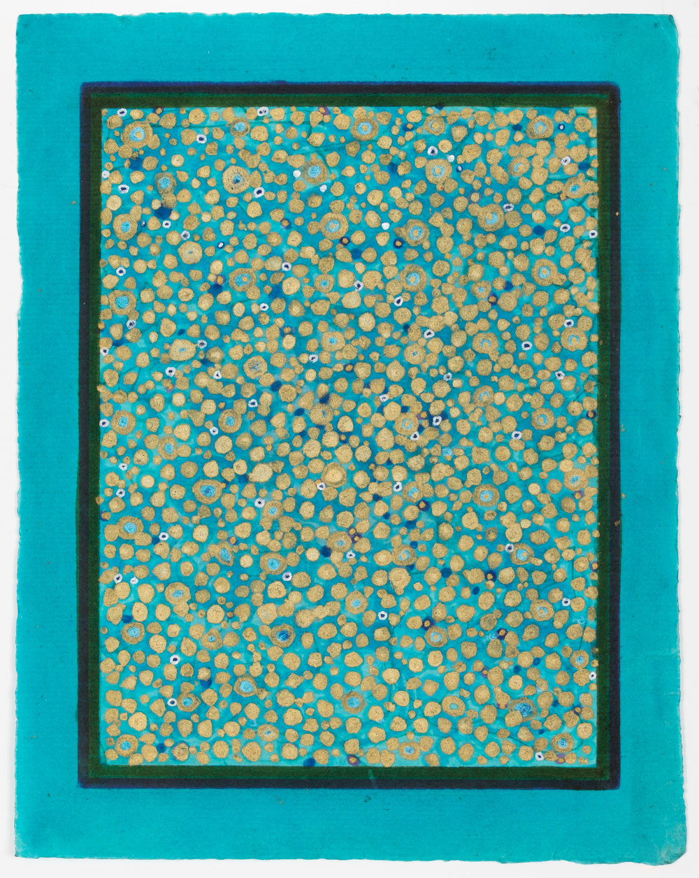 Olivia Munroe  Histories,  2016 beeswax, ink, metallic powder on vintage hand made paper  9 3/4 × 7 5/8 in.