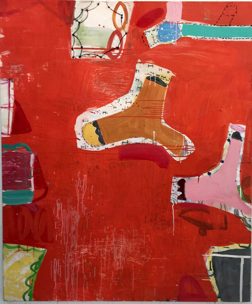 Gary Komarin Rue Madame in Red 60 x 48 in. Oil on Canvas