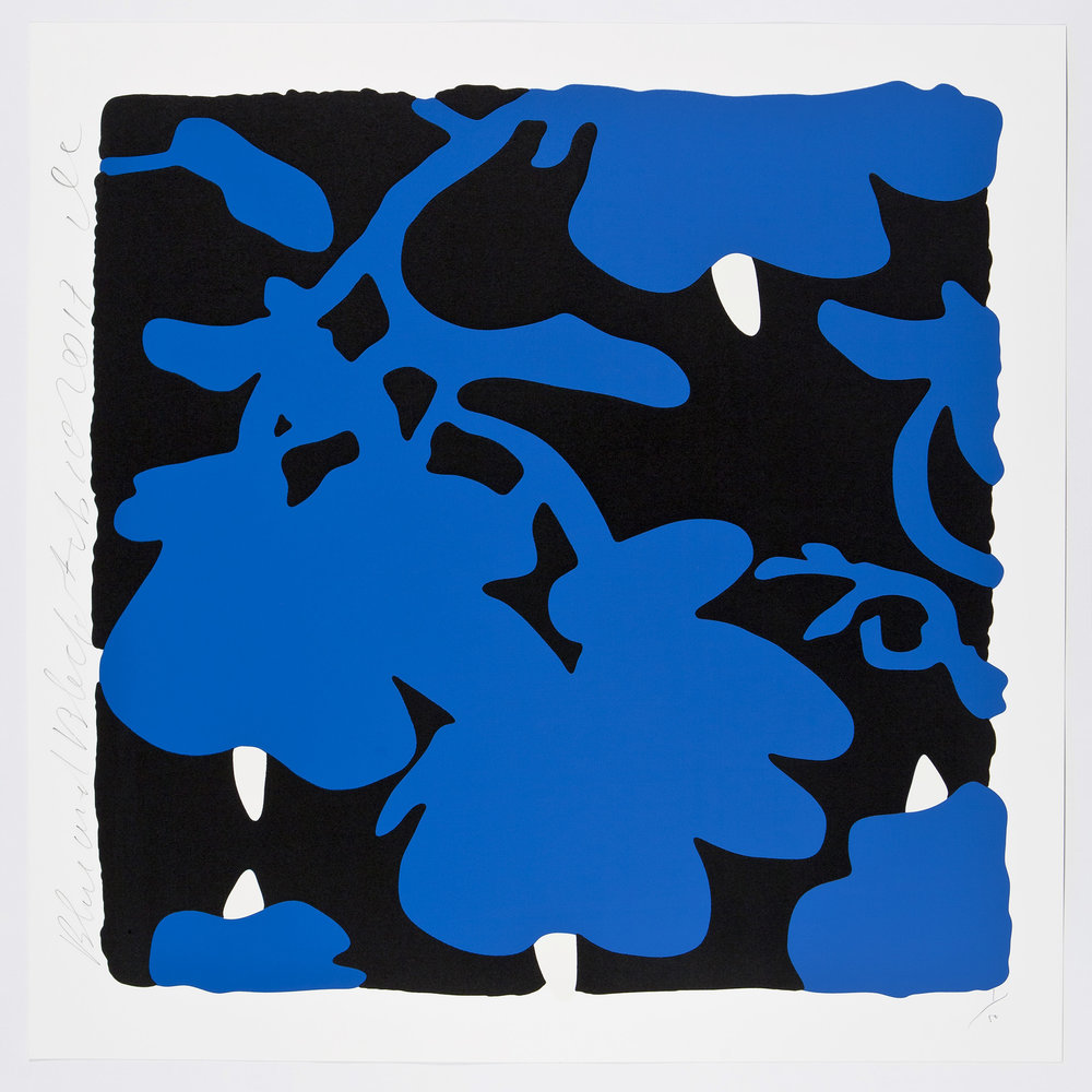 Donald Sultan  Blue and Black , 2017 color silkscreen with over-printed flocking on Rising, 2-ply museum board 32 x 32 in.