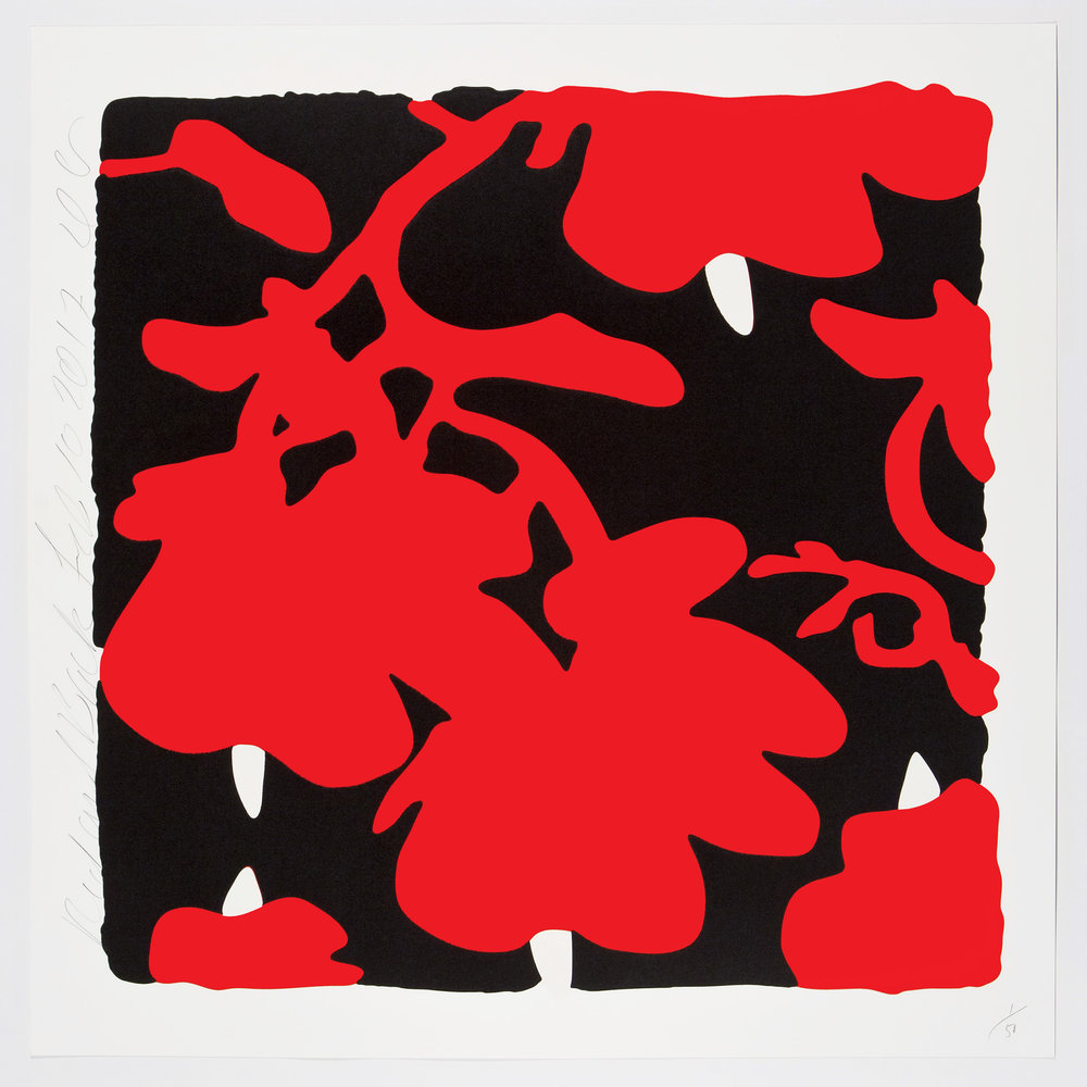 Donald Sultan  Red and Black , 2017 color silkscreen with over-printed flocking on Rising, 2-ply museum board 32 x 32 in.