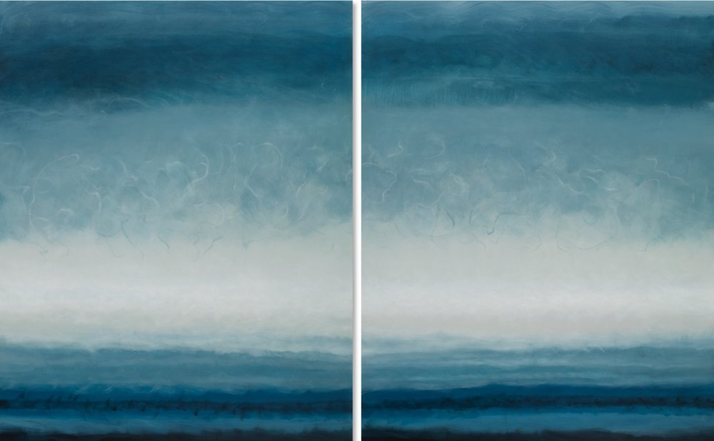 Janet Jennings  Seasmoke Diptych,  2018 oil on canvas 60 x 96 in. SOLD