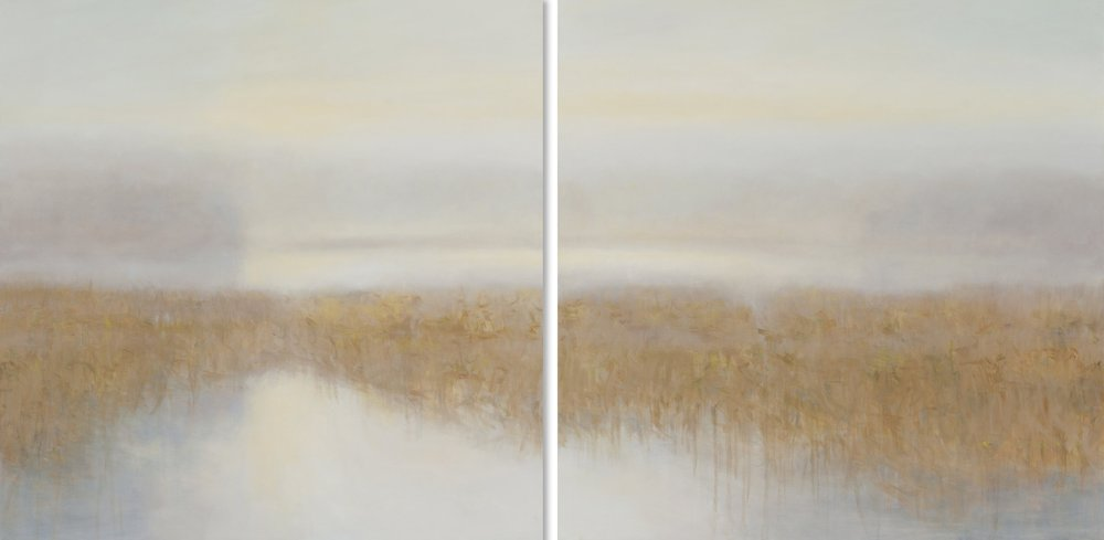 Janet Jennings  Alewife Pond I & II Diptych , 2017 oil on canvas 48 x 96 in. SOLD