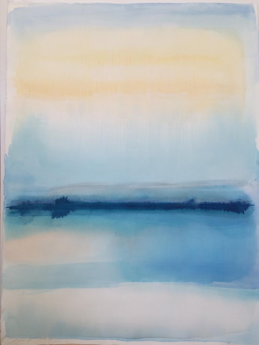 Janet Jennings  Alewife Pond III , 2017 watercolor on arches paper 30 x 22 in.