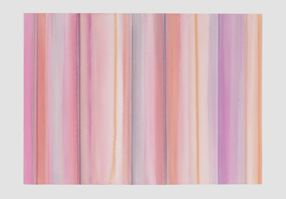 Janet Jennings  Pink Lines , 2018 watercolor on arches paper 22 x 33.5 in.
