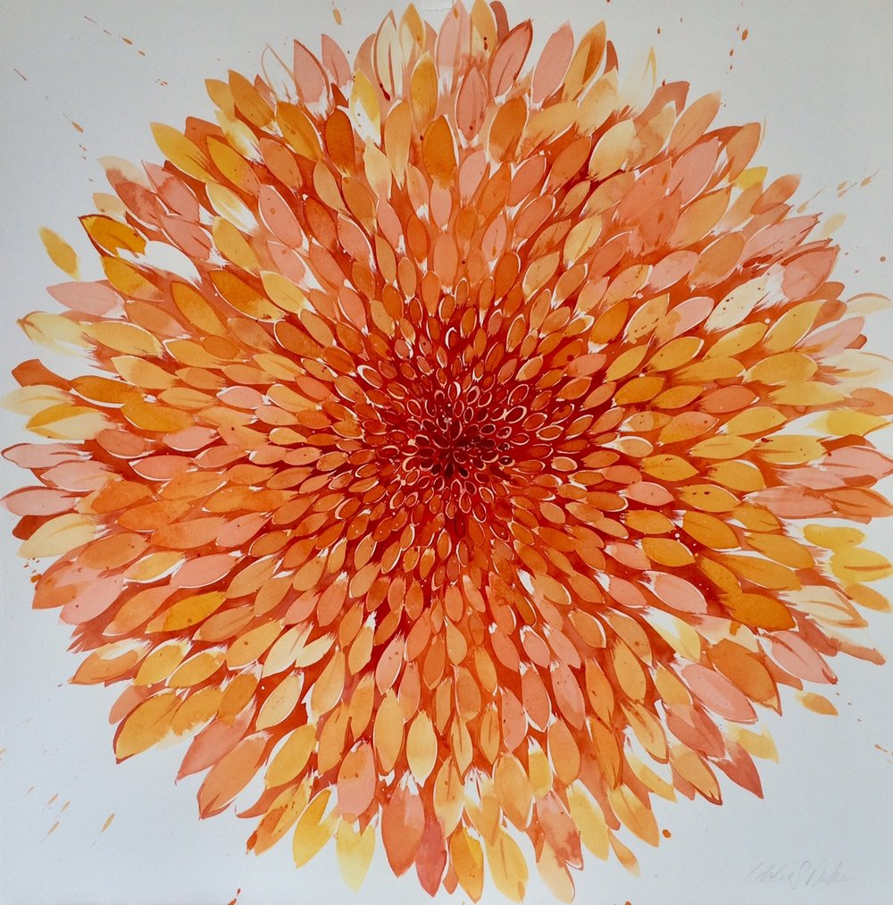Idolize Duke  Big Summer Orange,  2018 Watercolor/India ink 30 x 30 in.