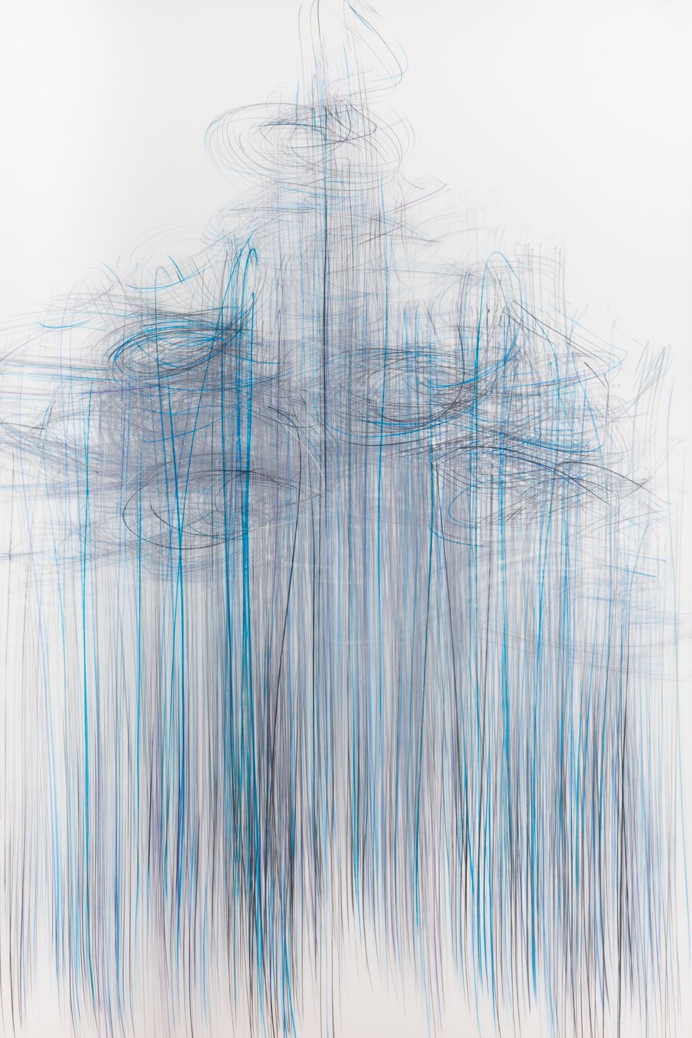 Jaanika Peerna  Thaw Series 1 , 2017 graphite and colored pencil on two layers of Mylar 54 x 36 in.