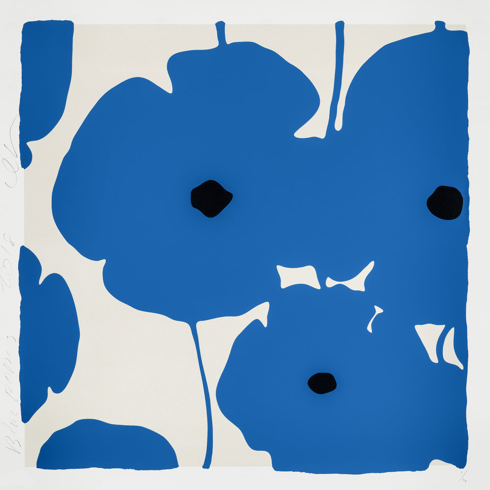 Donald Sultan  Blue Poppies,  2018 Color silkscreen with over-printed flocking 39 x 39 in.  edition of 40