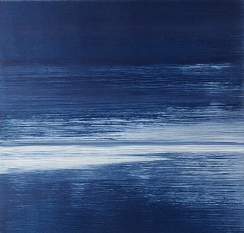 Frances Ashforth  Blue Study , 2016 waterbase monotype 22 x 22 in. 27 x 27 in. framed