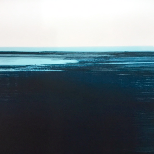 Frances Ashforth  Water Study 63 , 2017 unique waterbase monotype 30 x 30 in.