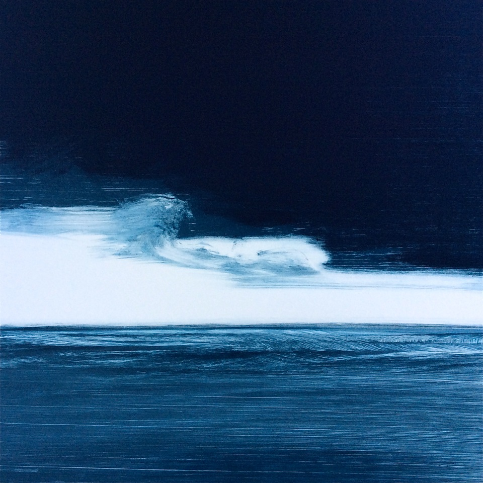 "Frances Ashforth  Blue Line 4 , 2017 unique waterbase monotype 22 x 22 in."" SOLD"