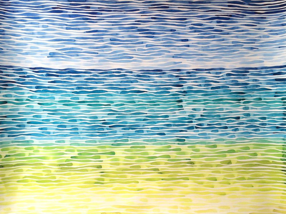 Idoline Duke  Atlantic Lines (4.16)  watercolor on paper 38 x 50 in.