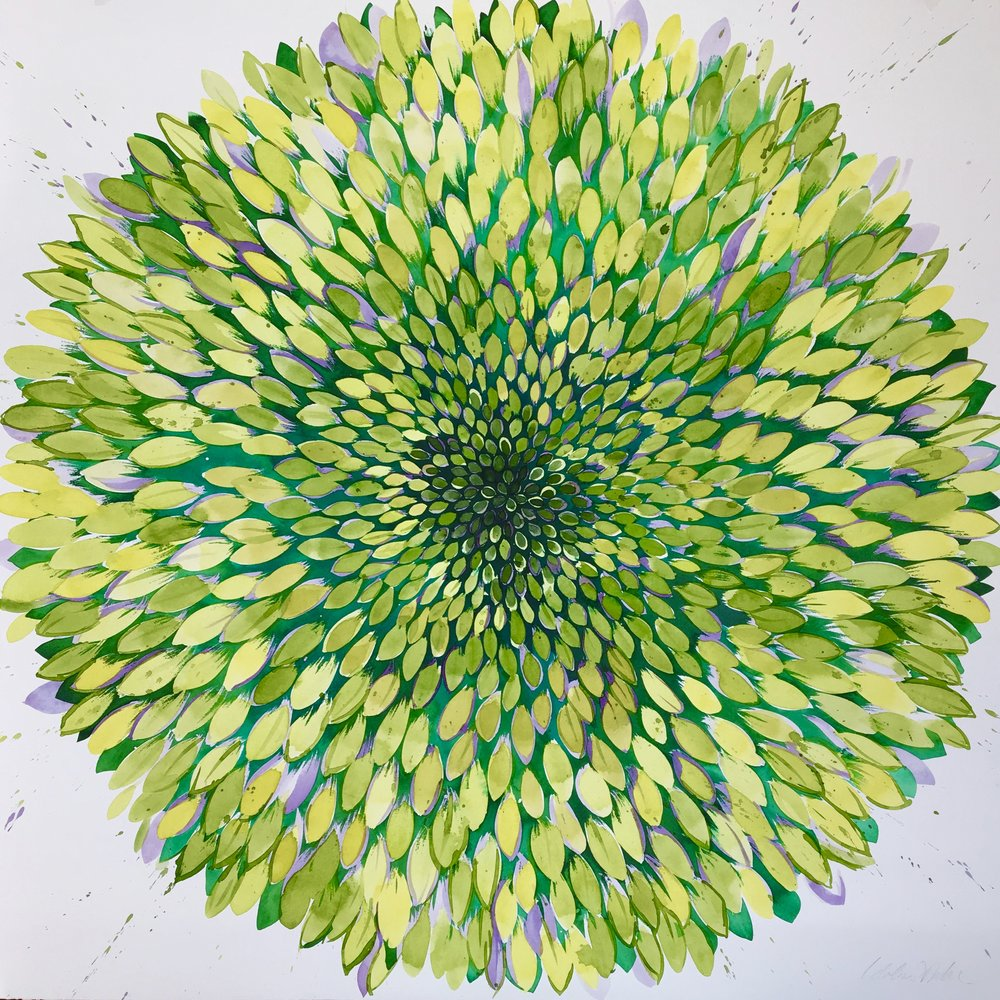 Idoline Duke  Big Chartreuse Flower  watercolor/ink on paper 34 x 34 in.