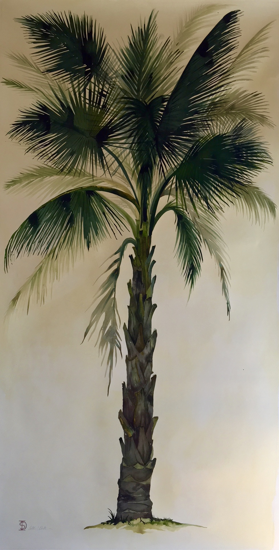 Idoline Duke  Big Palm II  watercolor on paper 72 x 36 in.