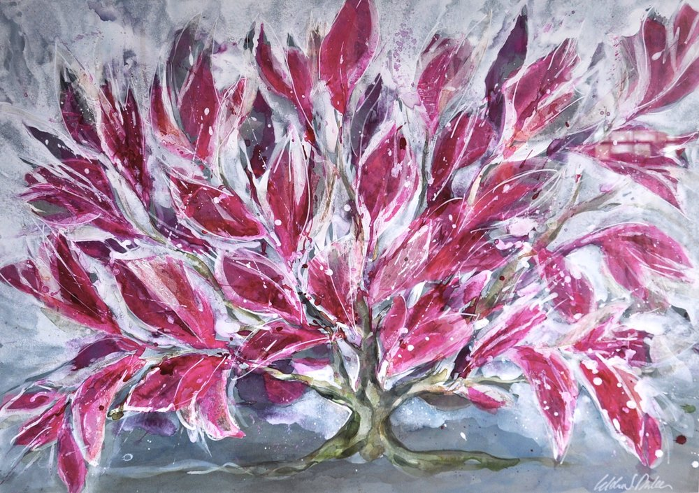 Idoline Duke  Pink Bush II  mixed media on paper 38 x 50 in.