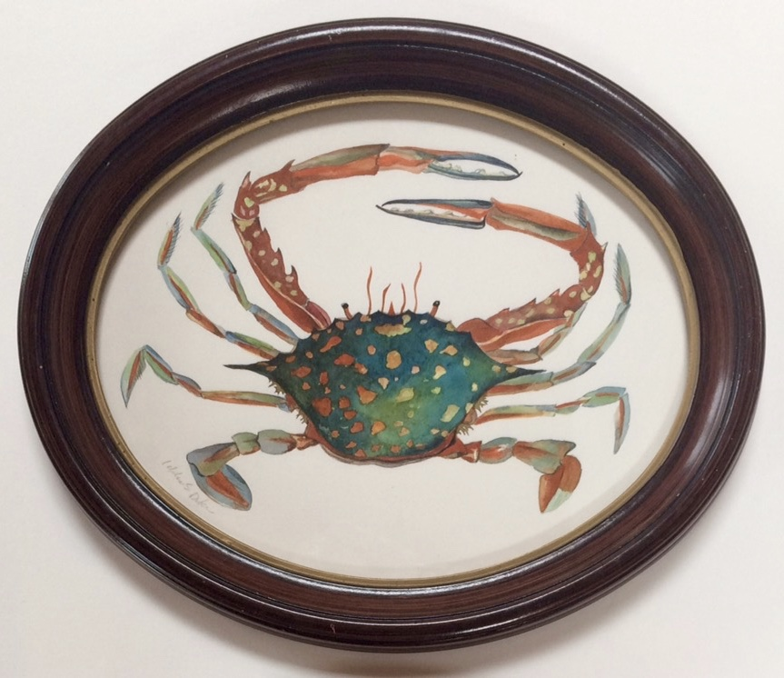 Idoline Duke  Speckled Crab  watercolor on paper 9 in. oval