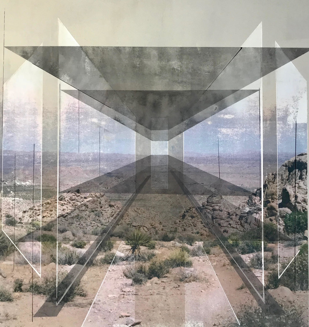 Rodrigo Valenzuela  New Land 15  toner, acrylic, chalk on canvas  framed in white wood shadow box frames