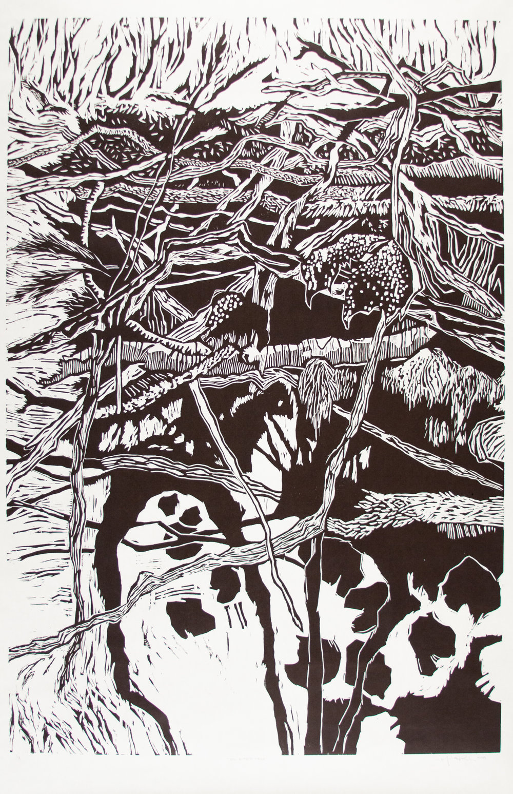 Michael Rich  Big Bird's Nest,  2018 woodcut print 72 x 36 in. edition of 4