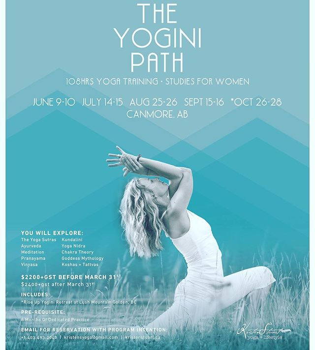 The Y O G I N I ⚡️P A T H  Summer Immersion (June-Oct) . . This 5-Month Yogic Studies Program for Women is designed for those who are ready to take themselves higher + deeper in practice, self-study and consciousness. Experience the power of Vinyasa, Kundalini, Meditation and Yoga Nidra while diving into the rich wisdom of the Yoga Sutras, Chakra System, Subtle Body Anatomy, Koshas, Tattvas, Ayurveda, and Goddess Mythology. . . 💎 Early-Bird Registration ends March 31st 💎 . . ✨Full details are found through the link in my bio. Payments plans are available. Please message kristen@kristenstuart.ca to apply and for more info.✨ . #theyoginipath  #svadhyaya  #selfstudy #personaldevelopment #yogateachertraining #selfmastery  #aquarianwomen