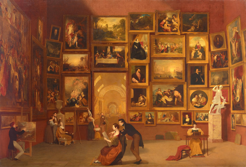 Samuel F. B. Morse's  Gallery of the Louvre .  Click here to view full-screen .