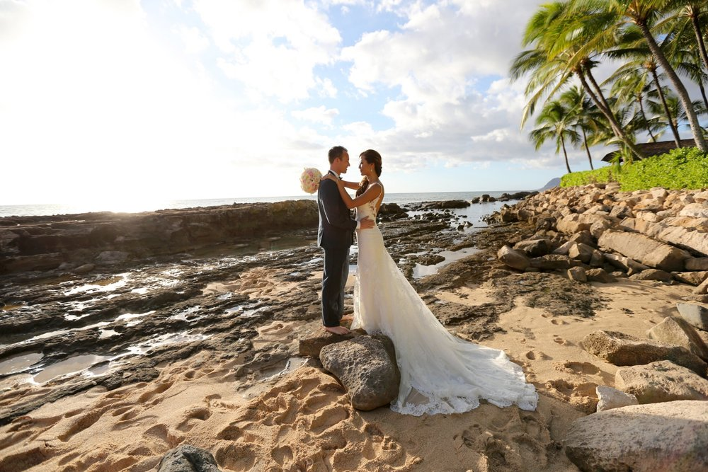 Stunning Bride Jacqueline had her wedding in Oahu, Hawaii. Bree Rubin Hair provided bridal hair styles for Jacqueline,  her bridesmaids, and the moms. Take a look at Bree Rubin's Bridal gallery for wedding inspiration, hair styles, and makeup looks.