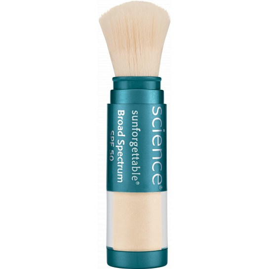 Sunforgettable Brush-On Sunscreen SPF 50 by ColoreScience Brush-on Sunscreen offers powerful SPF 50 UVA/UVB protection, alone or over makeup. SPF and finishing powder in one simple, on-the-go application. $64