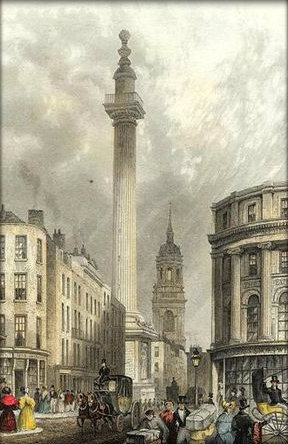 Illustration of the Monument, London, a structure built by Sir Christopher Wren based on designs by Robert Hooke to commemorate the rebuilding of London following the Great Fire in 1666. The monument was designed as both a landmark and an immense vertical telescope with a twenty foot deep underground laboratory.