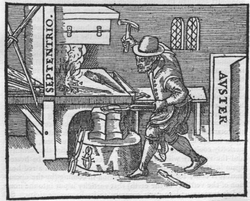 "Illustration of iron worker in a smith from De Magnete, used in Gilbert's proposal of how polarity is imparted into ""any iron that has been smelted though not empowered by a loadstone."""