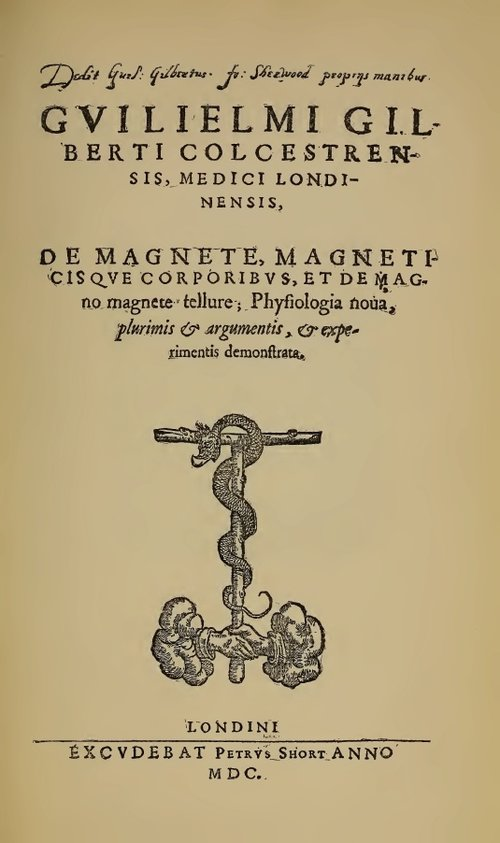 Title page of William Gilbert's  De Magnete  (1628 edition).
