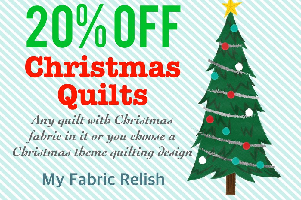Christmas Special: Merry Early Christmas! Save 20% off all computerized E2E quilting services for Christmas quilts! Your quilt must have at least one Christmas theme fabric and/or you must use a Christmas theme E2E design. Discount only applies to computerized edge-to-edge quilting service and does not apply to custom quilting services or batting. Your quilt(s) must be received by November 20th