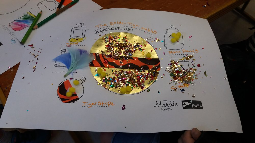 Marble-making collage/colouring activity template