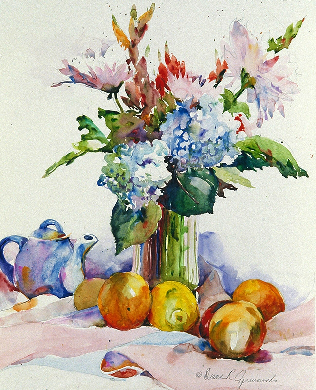 Bouquet with Hydrangeas and Fruit