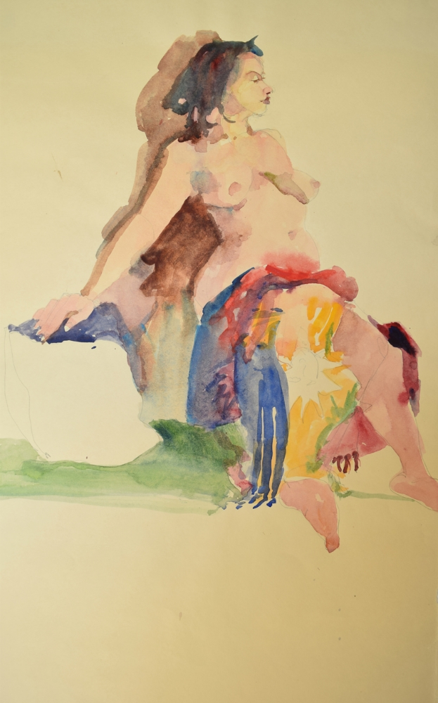 Seated Nude with Colorful Shawl