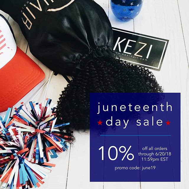 Issa Sale! 🔴⚪🔵 If you're from Texas or the South you know about Juneteenth and if you don't we'll let you know! Juneteenth is an American holiday that commemorates the June 19, 1865, the end of slavery particularly in Texas and confederate states. It's also known as Freedom Day or the Second Independence Day and was often celebrated instead of the traditional July 4th holiday. As a black-owned company, we're excited to celebrate holidays that commemorate our history!  #themoreyouknow #juneteenth #freedomday #blackownedbusiness