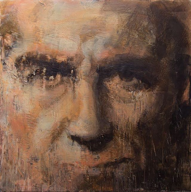 Artist as Citizen, 2017-18 series: Pictures from Rome encaustic on canvas 64x64 inches . . . . . . . . .#tonyscherman #encausticpainting #painting #contemporarypainting #wax #pigment #drip #canvas #encaustic #expressive #artistascitizen #wag #winnipeg #winnipegart #winnipegartgallery #face #selfportrait #portrait #gaze #furrowedbrow #smirk