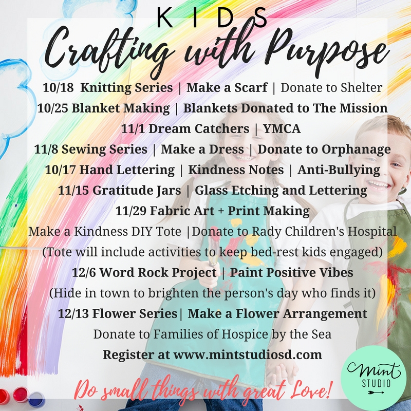 Register for class on our calendar or set up a group to donate to your favorite charity and we will help you get the crafting done!