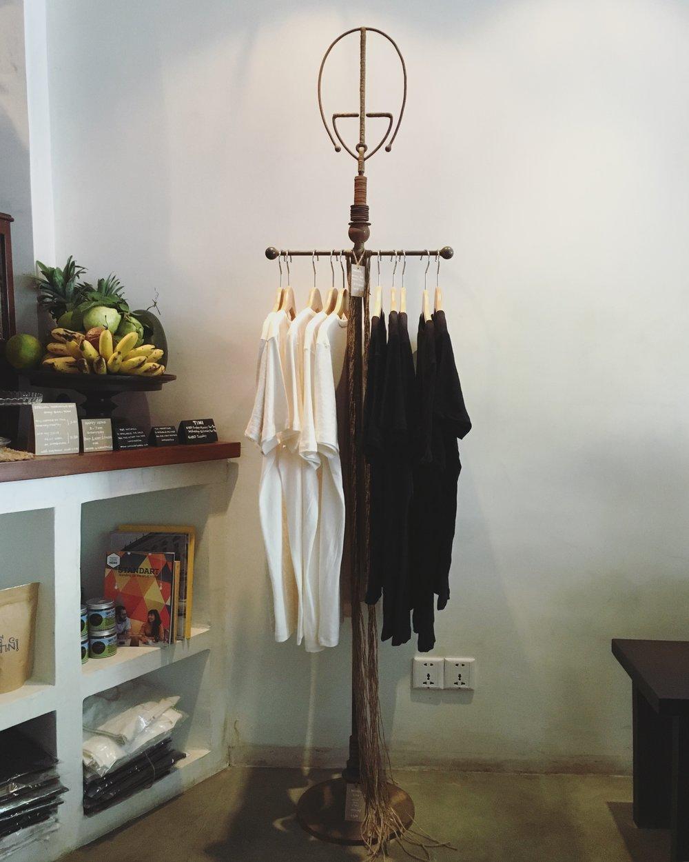 Sothea's sculpture displays his T-shirt designs at  TINI Cafe & Bar