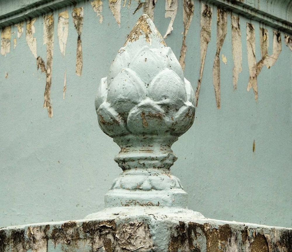 Pretty concrete lotus finial adorns a stupa at a local pagoda.