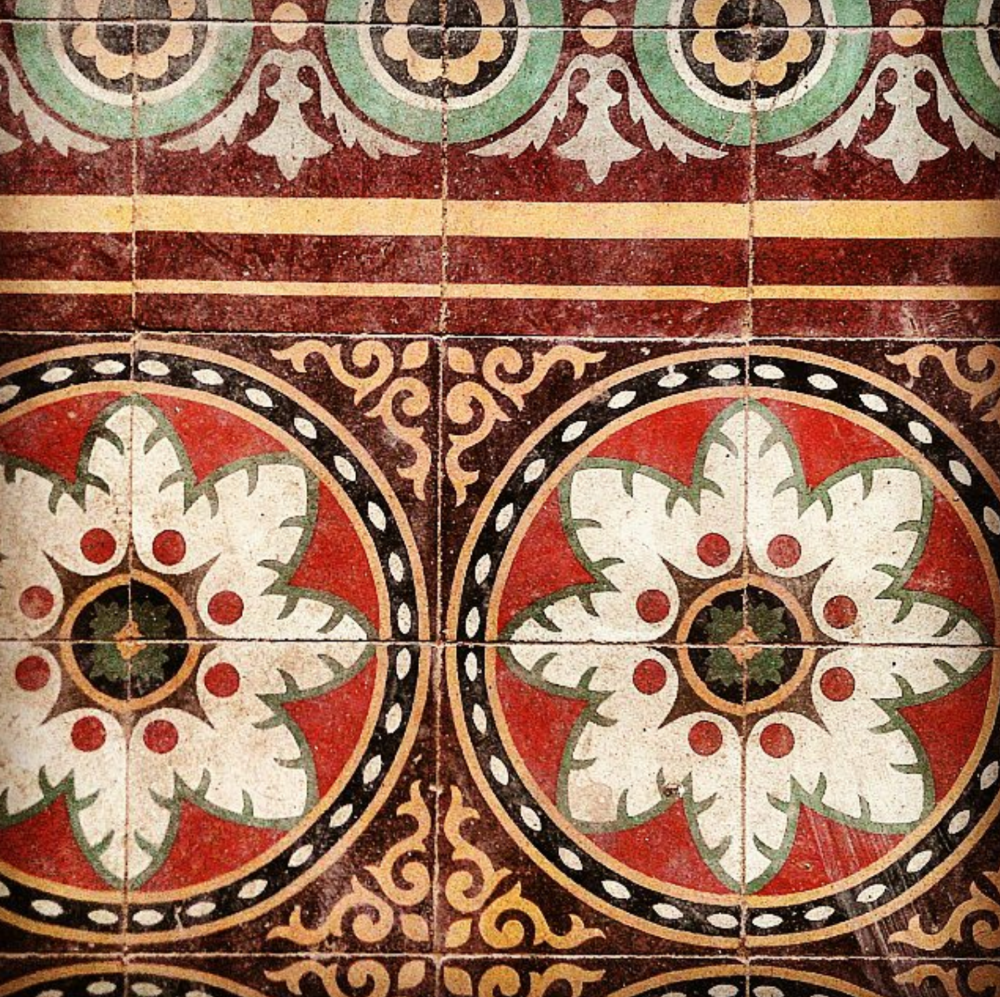 Beautifully preserved encaustic colonial tile on the floor of a monk's dormitory in Phnom Penh.