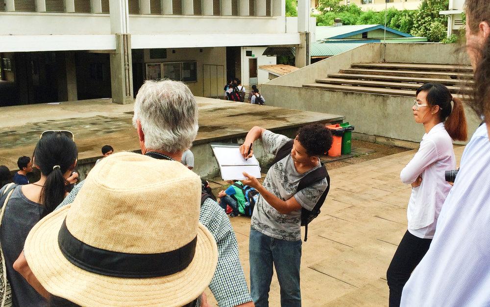 Virak giving a tour. Photo by Rhiannon Johnson
