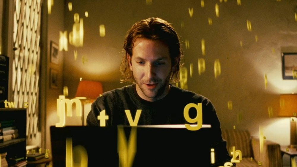 Bradley Cooper in crunching letters and numbers (Limitless)