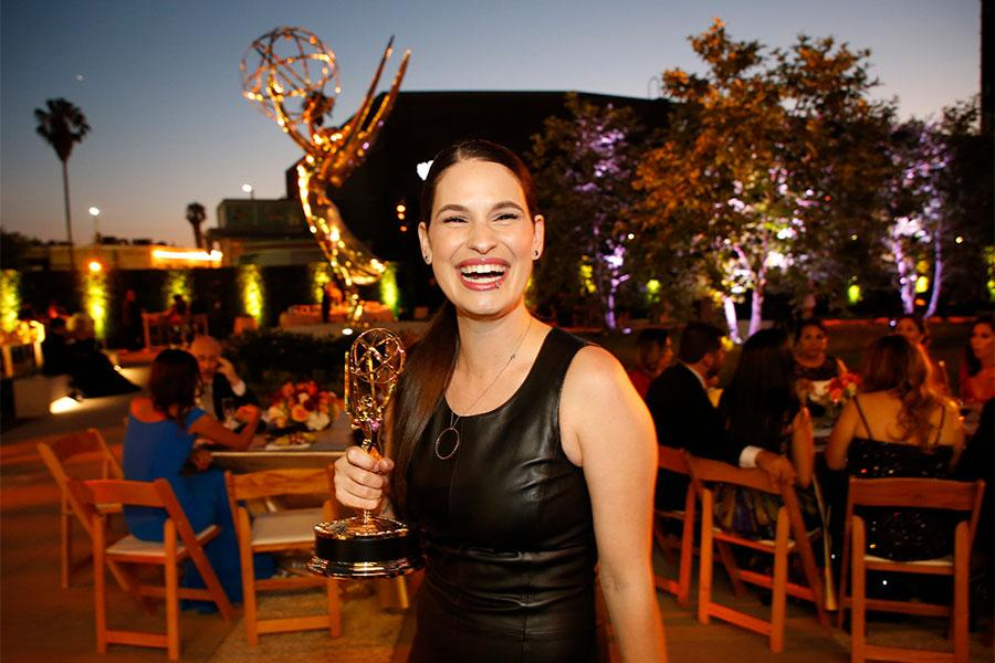 Cara and her 2017 Emmy for  SoCal Connected , a weekly show with in-depth stories on the environment, economy, health, social and community issues and other substantive topics.