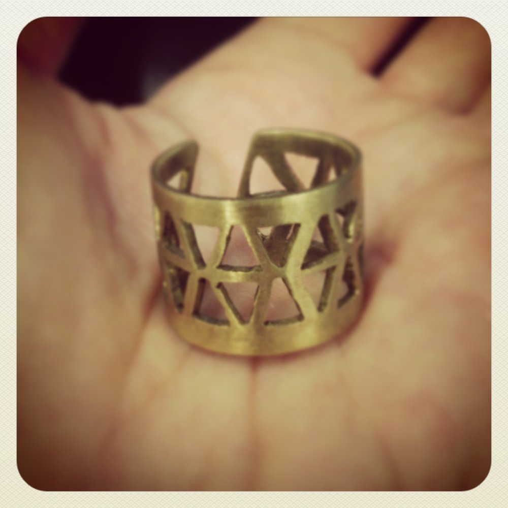 Adjustable triangle cut-out ring, antique bronze - Sizes 5-7 - Bohemian Boho Gifts for Her