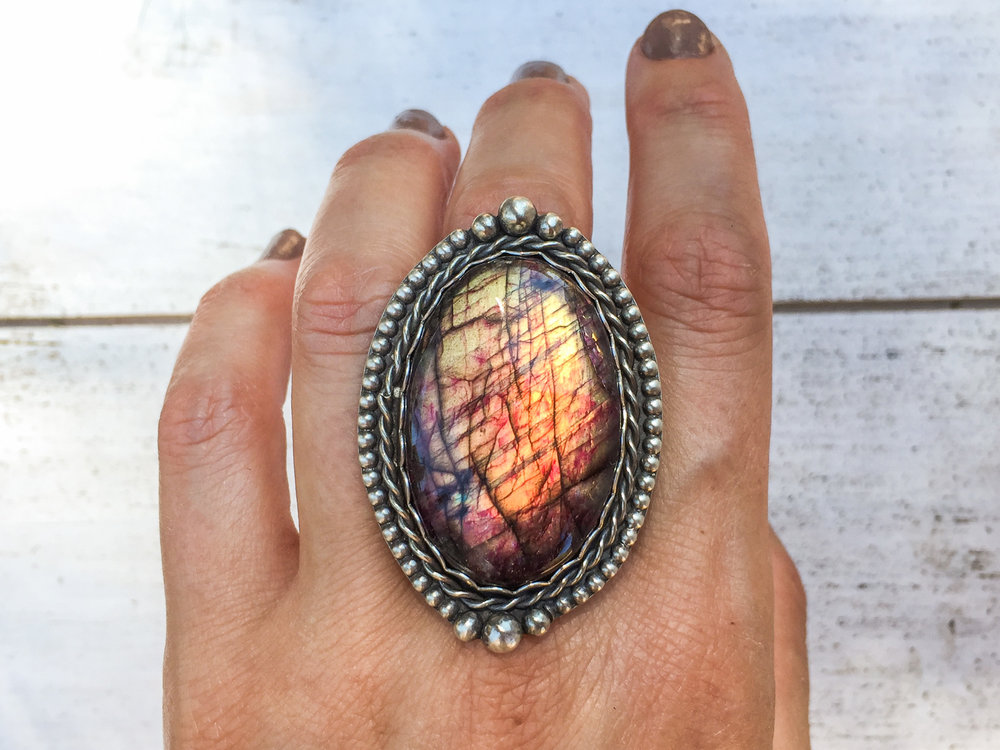 Large silver labradorite ring, reddish pink flashing labradorite, sterling and fine silver, adjustable, statement - bohemian gifts for her