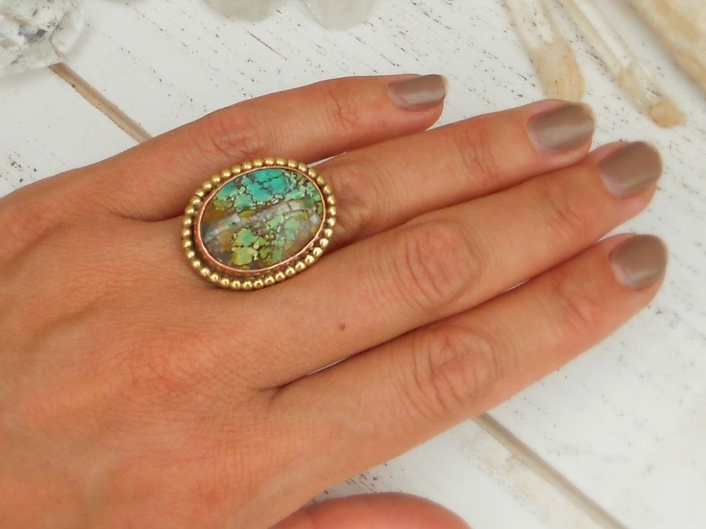 Multi-color turquoise ring with copper & brass vine band - size 5
