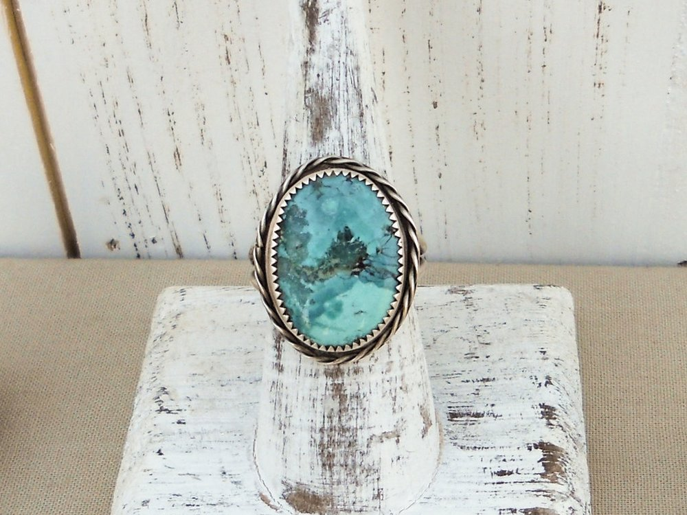Bright blue turquoise and silver ring with split shank and braided accent - size 7.5 - Bohemian Boho Gifts for Her