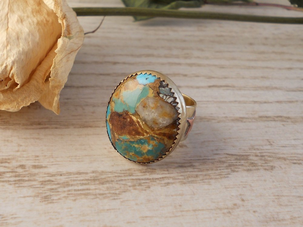 Star & moon bronze-vein turquoise ring - size 5 - Bohemian Boho Gifts for Her