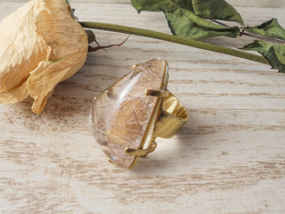 Rutilated quartz statement ring, 14K gold-plated, prong setting, triangle cut stone - size 5.5 - Bohemian Boho Gifts for Her