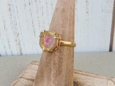 Watermelon tourmaline slice ring, 14K gold plated, prong setting, alternative engagement ring - Size 5.5 - Bohemian Boho Gifts for Her